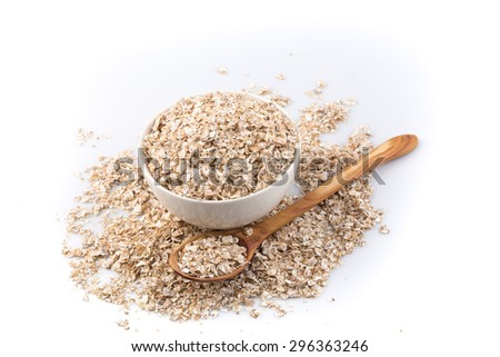 Healthy Homemade Oatmeal breakfast in a bowl close up - stock photo