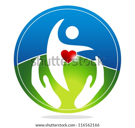 Healthy human and healthy heart symbol. The heart shape symbolizes healthy heart beating and healthy blood circulation system. Hands symbolizes the healing and protection of human health. - stock photo