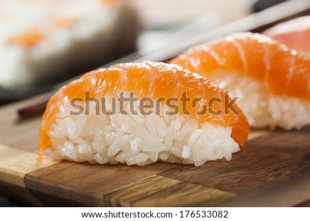 Healthy Japanese Nigiri Sushi with Rice and Fish - stock photo