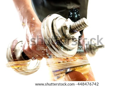 Healthy life and gym exercise.Gym equipment and sport concept.Double exposure background.Dumbbells. - stock photo