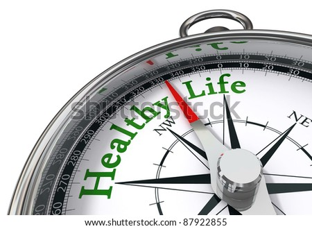healthy life indicated by concept compass on white background - stock photo
