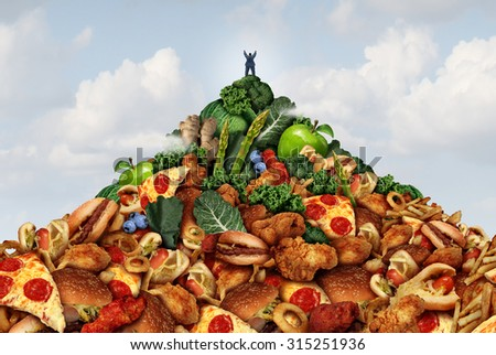 Healthy lifestyle achievement concept as an overweight person climbing to the top of a mountain made of fast food at the bottom and fruits and vegetables at the peak as a fitness success symbol. - stock photo