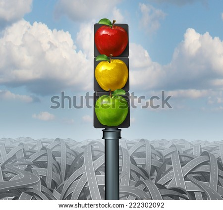 Healthy lifestyle advice and eat healthy concept as traffic lights with green yellow and red apples on a background of tangled confused roads as direction metaphors for diet and dieting. - stock photo