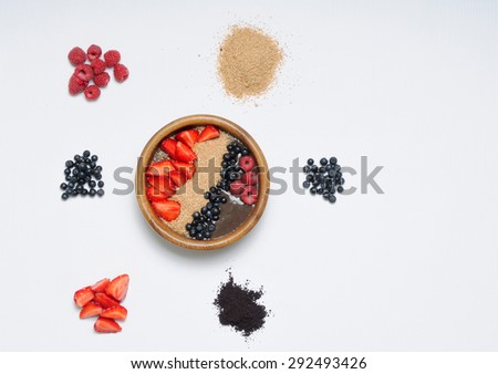healthy lifestyle concept, healthy food set of berry bowl