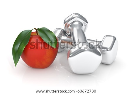 Healthy lifestyle concept with apple and dumbbell - Isolated - stock photo