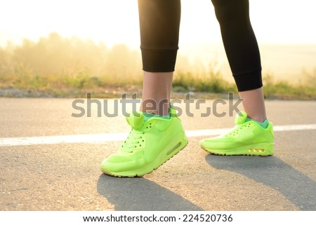 Healthy lifestyle fitness sports woman running at park trail - stock photo