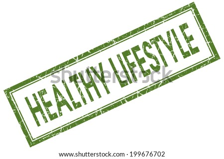 Healthy lifestyle green square grungy stamp isolated on white background