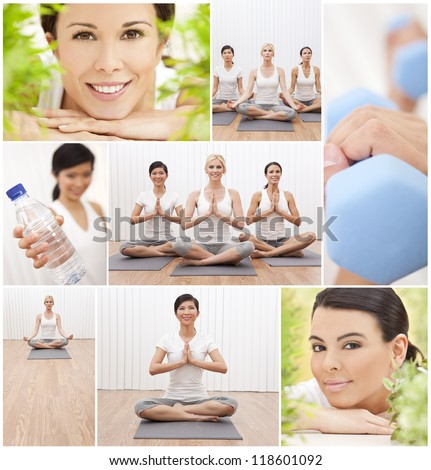 Healthy lifestyle montage of beautiful women, relaxing, working out, practising yoga at a health spa - stock photo