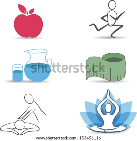 Healthy lifestyle symbol collection.Healthy food, exercises, normal weight, drinking water, relaxation and meditation. Isolated on a white background. - stock photo