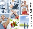 Healthy lifestyle  theme collage composed of different images - stock photo
