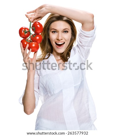 Healthy lifestyle woman holding a bunch of tomatoes in her hands, healthy food concept / photoset of brunette girl wearing white shirt - isolated on white background   - stock photo