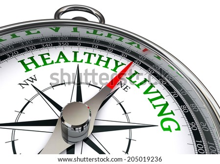 healthy living on concept compass, isolated on white background