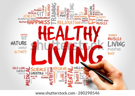 Healthy Living word cloud, health concept - stock photo