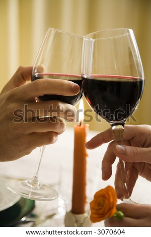 healthy living: young couple in love dining out - stock photo