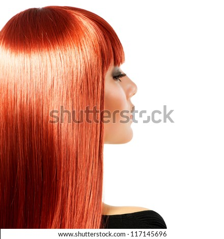 Healthy Long Red Hair. Isolated on white - stock photo