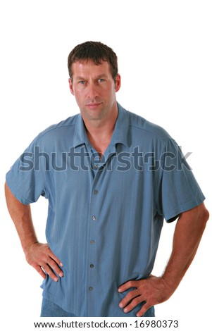 Healthy Looking Man in Blue Casual Dress on Isolated Background - stock photo