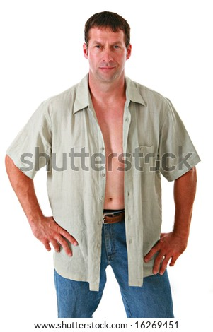 Healthy Looking Man in Casual Dress on Isolated Background - stock photo