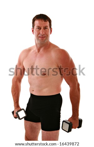 Healthy Looking Man Working Out on Isolated Background - stock photo