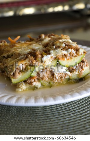 Healthy Low Carb Summer Lasagna with Zucchini Strips - stock photo