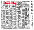 Healthy meal info-text graphics and arrangement concept on white background (word cloud) - stock photo