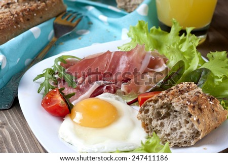 Healthy meat, egg and vegetables snack