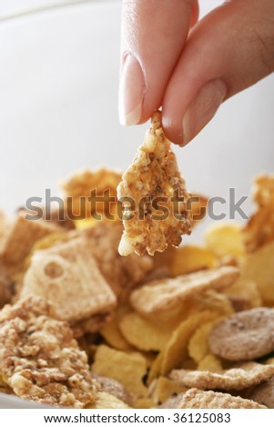 Healthy morning meal: corn flakes. - stock photo