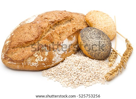 healthy multi grain bread on white