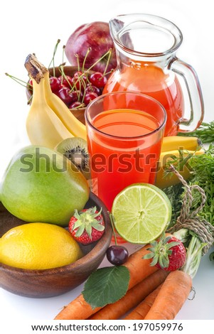 healthy multivitamin juice with various fruit and vegetables - stock photo