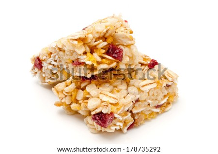 Healthy munchies on white background - stock photo