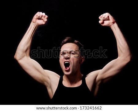 Healthy muscular young man - stock photo