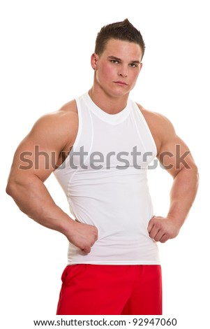 Healthy, muscular, young man on a white background. - stock photo