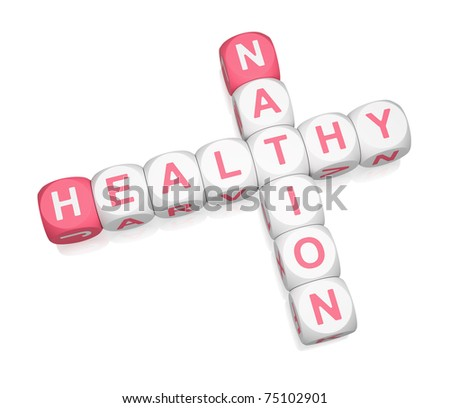 Healthy Nation crossword on white background 3d render - stock photo