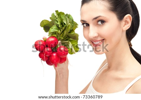 healthy natural food, woman with  radishes, isolated over white background - stock photo