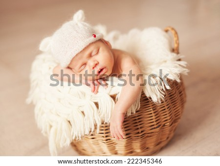 healthy newborn baby sleeping in basket - stock photo