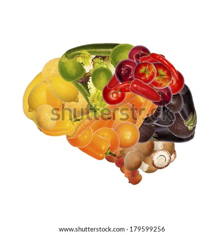 healthy nutrition is important for brain - stock photo