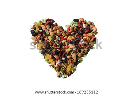 healthy nuts mix Heart shape - stock photo