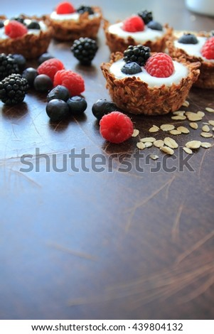 Healthy oat cookies with light yogurt and fruits - stock photo