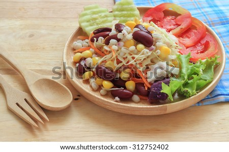 Healthy of salad on table