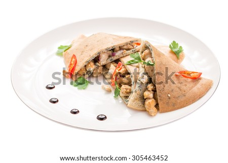 Healthy omelette with vegetables isolated on white background