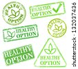 Healthy option.  Grungy rubber stamp illustrations  - stock photo