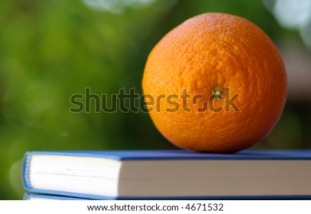 Healthy orange and diet and nutrition book - stock photo