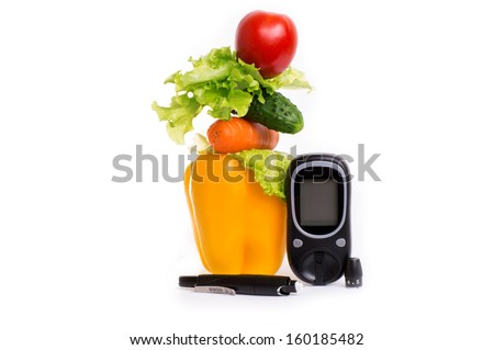 healthy organic food and sugar meter on a white background - stock photo