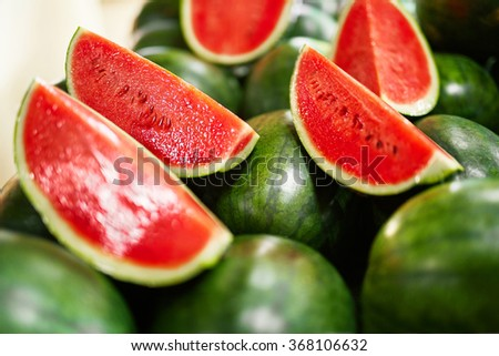 Healthy Organic Raw Food. Closeup Of Sweet Organic Ripe Watermelon Slices In The Farmers Market ( Supermarket ) In Thailand, Asia. Nutrition And Vitamins. Fruit Diet Background.  - stock photo