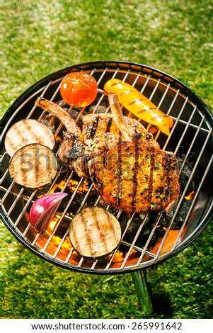 Healthy outdoor living summer BBQ with lean pork cutlets, eggplant, peppers, tomato and onion grilling over the hot coals on a portable barbecue, high angle view - stock photo