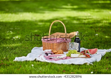 Healthy outdoor summer or spring picnic spread out on a rug on a lush green lawn with a bottle of wine, fresh fruit , cheese and bread