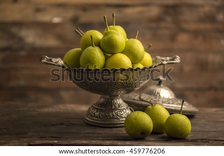 Healthy Pears on Wooden Background