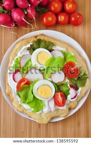 Healthy Pizza with fresh vegetables and egg - stock photo