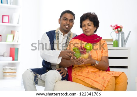 healthy punjabi family ,mother and son with traditional punjab dress