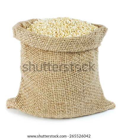 Healthy quinoa - gluten free seeds in small sack - stock photo
