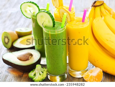 Healthy raw fresh drink with ingredients  - stock photo